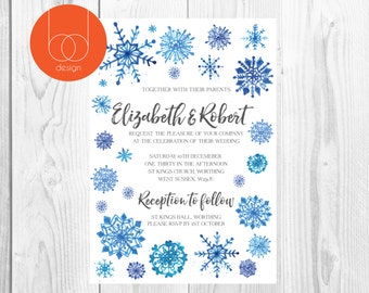 Watercolour Snowflake Wedding Invitation
