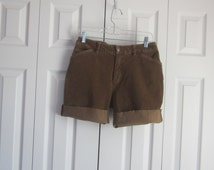 Brown High Waisted Shorts, Corduroy Shorts, High Waist 30,  J Jill Cutoffs, Cut Off Jean Shorts, Womens 6, Light Brown Stretch, Stretch