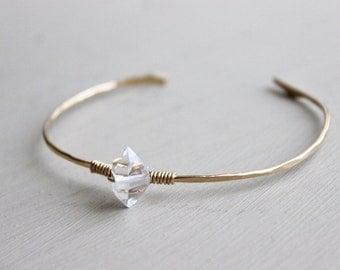 Herkimer Diamond Bangle, 14K Gold Fill Bangle, Stacking Bangles