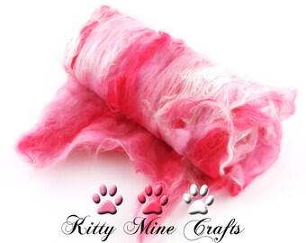 Pink Hearts and Roses Smooth Art Batt - Merino Wool, Rose Fiber, Tussah Silk - 3.5oz - Drum Carded Roving - Felting, Spinning