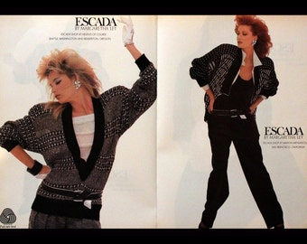 1986 Escada Fashion Ad - Wall Art - Home Decor - By Margaretha Ley - White Hat - Sweaters - Slacks - Retro Vintage Fashion Advertising