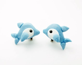 Pair of dolphin clip-on earrings
