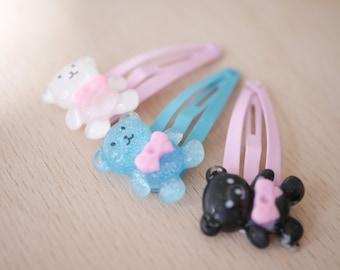 2x Bear with bow hair clips