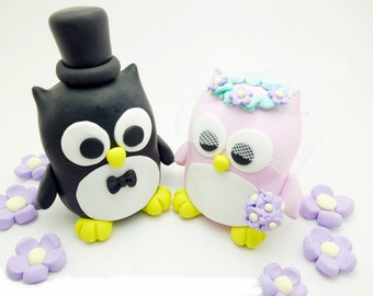 Owl couple wedding cake toppers