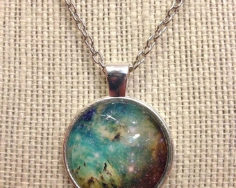 """18"""" Green&Yellow Galaxy Glass Pendant Necklace"""