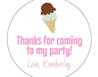 12 Ice Cream Stickers, Summer Birthday, Ice Cream Party, Ice Cream Cone, Sweet Stickers, Ice Cream Labels, Birthday Stickers, Baby Shower