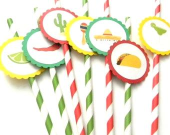 12 Fiesta Party Straws, First Birthday, Fiesta Theme, Fiesta Birthday, Mardi Gras, Party Straws, Sombrero, Baby Shower, Stripe Straws,