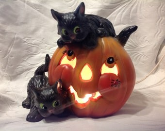 Vintage Lighted Pumpkin With Black Cats Ceramic Pumpkin and Black Cats Vintage Halloween Ceramic Decor