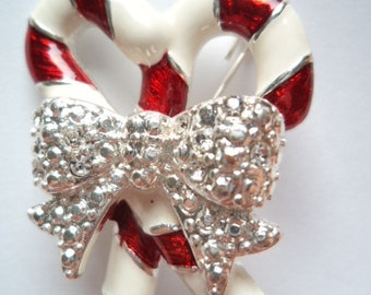 Vintage Unsigned Candy Canes with Silvertone  Bow Brooch/Pin