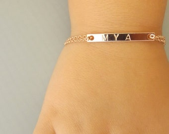 Children's Name Bracelet• Children's Jewelry• Girls Baptism Gift•Rose Gold Flower Girl Bracelet• Personalized Toddler Gift• Custom Name Kids