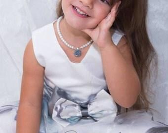 Flower girl jewelry set, flower girl gift, flower girl jewelry, flower girl pearl necklace and bracelet set, wedding jewelry, girls jewelry