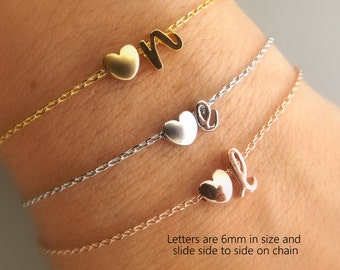 Initial and heart gold, rose gold or silver bracelet, bridesmaid gift, personalized bridesmaid bracelet,personalized bridesmaid jewelry