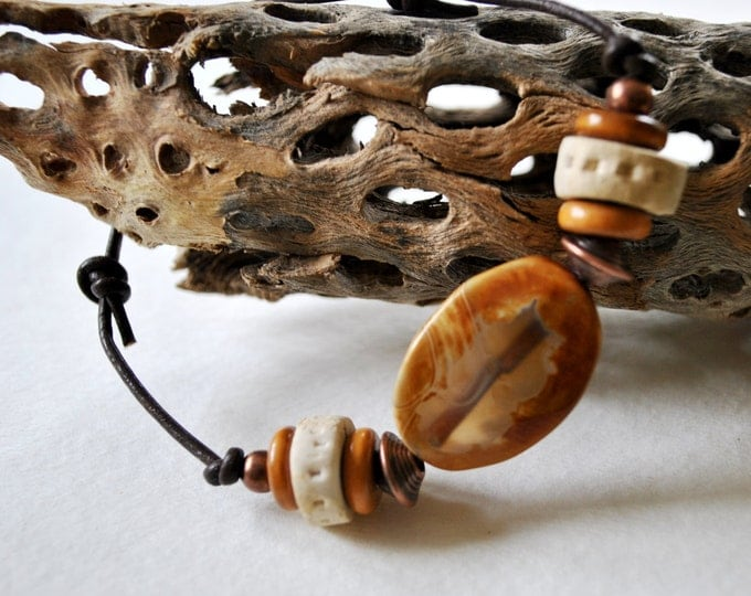Men's agate stone bracelet on leather with brown and white beads, copper beads,  Men's
