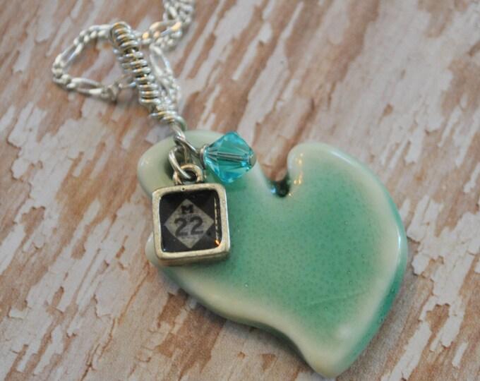 Ceramic Michigan pendant with M22 charm, Michigan necklace, Up North