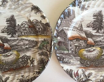 Vintage Set of Brown Staffordshire Yorkshire Ironstone Plates
