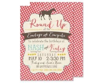 Cowboy & Cowgirl Birthday Invitation - PRINTED