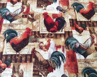 "Rooster curtain valance 41"" x 15"" in 100% cotton - handmade new."