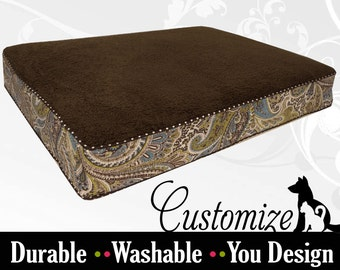 Classy Brown Paisley Dog Bed - Custom Made to your Style