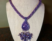 Set -  Multiple Shades of Purple Kumihimo Necklace with Royal Amethyst Cabochon with Matching Earrings and Bracelet