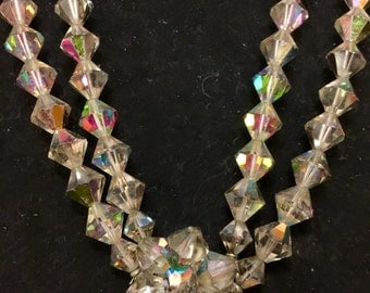 Vintage 60's Iridescent Diamond Shape Bead 2 layer Necklace W/ Cluster Clasp