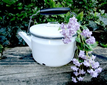 White Enamelware Tea Kettle, Tea Pot, Enamelware Kettle, Country Farmhouse Cottage Rustic Kitchen