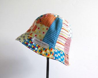 Patchwork print baby boy sun hat, toddler boy summer hat, kawaii Japanese fabric boys summer hat, gift for boy toddler - madeto order