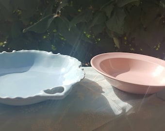 Shabby Chic Pink and Blue  vintage dishes // ring and jewelry holders //baby shower decor//soap dishes
