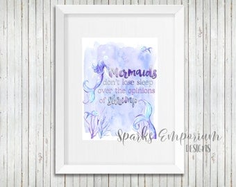 Mermaids Don't Lose Sleep Printable - Digital Download - Instant Download - Home Decor
