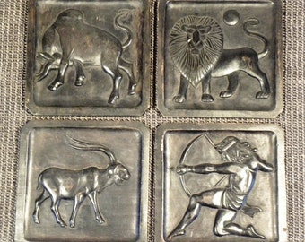 Mid Century Vintage Hand Carved Wooden Wall Plaques - Set of 4