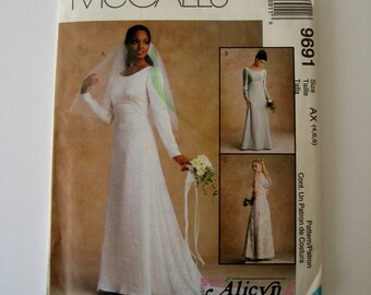 McCalls 9691 Sewing Pattern Wedding Dress Bridesmaid Empire Waist Gown Back Drape Alicyn Exclusives Misses Size 4 6 8 UNCUT