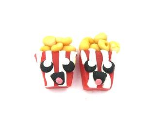 Kawaii popcorn ear studs