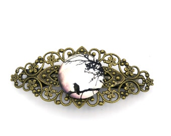 Raven glass cabochon Barrette hair jewelry bronze colors