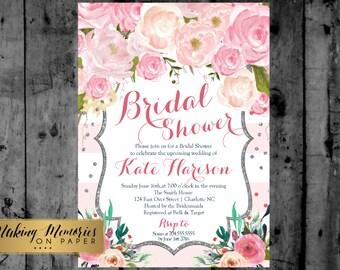Pink Floral Bridal Shower Invitation, Watercolor Flowers Invitation, Floral Invitation, Shower Invitation, Floral Invite, Flower Invite