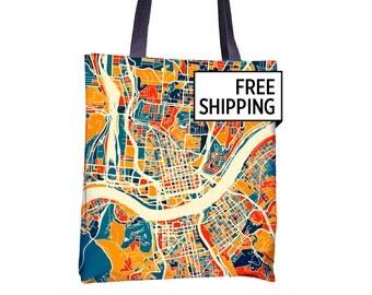 Cincinnati Map Tote Bag - Ohio Map Tote Bag 15x15