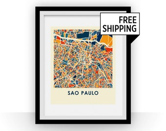 Sao Paulo Map Print - Full Color Map Poster