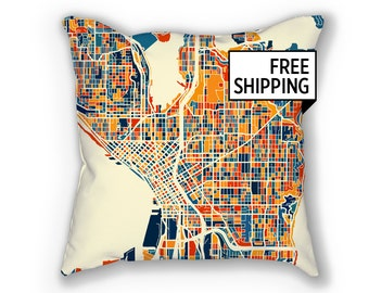 Seattle Map Pillow - Washington Map Pillow 18x18