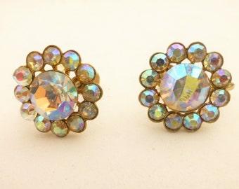Sparkling Aurora Borealis Crystal Rhinestone Screw Back Earrings
