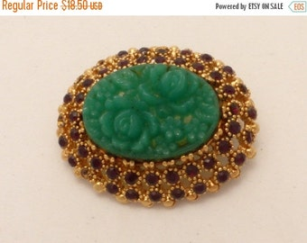 ON SALE Sphinx Molded Glass High Dome Faux Jade Flowers Brooch