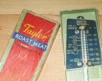 1934 Taylor Roast Meat Thermometer in Original Box #5936 Litho USA Rochester, N. Y.