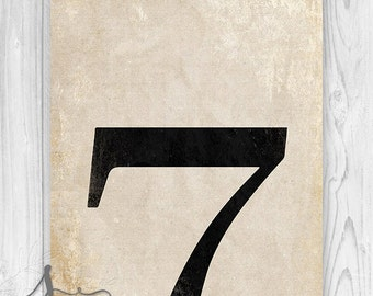 Number Seven Art Print, Numerology Typography Art Print, Vintage Number Decor, Number 7 Poster Art, Number Wall Art, Numbers Print