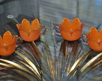 Four Vintage SHRINERS' TULIP CUPS Orange with Twig Handles 1906