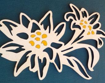Edelweiss, wooden edelweiss, wooden alp flower