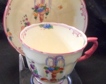 CROWN STAFFORDSHIRE Cup & Saucer, Pattern #13113, Flower Fountain/Urn Motif