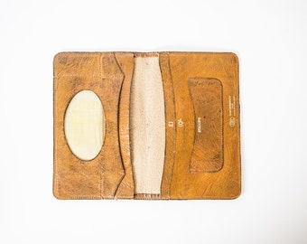 1940s Tan Leather Purse | Old English Leather Wallet Purse |  Leather Wallet |