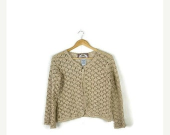 STORE WIDE SALE Vintage Beige/Oatmeal Cotton Crochet  Cardigan from 90's/Hippies/bohos*