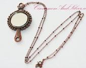 Long Copper Pendant Necklace, Victorian Hand Mirror Necklace, Real Mirror Pendant Necklace, Copper Mirror Necklace, Vintage Mirror Necklace