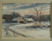 WINTER LANDSCAPE WATERCOLOR Painting Vintage Maine Art Original Impressionist New England Horse Stable in Snow Listed Michael Karas (b 1954)