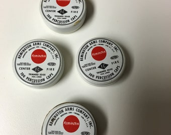 4 Vintage Remington Percussion Cap Tins With 1 Sealed wi Original Paper Tape Seal/New Lowest Price