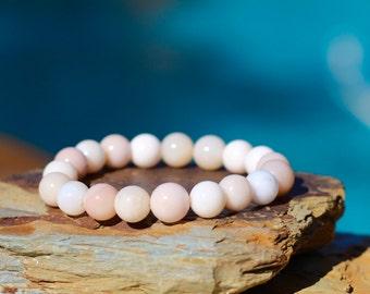 Pink Peruvian Opal Stretch Bracelet, Pink Opal Stackable Bracelet, Beachy Pink Peruvian Opals, Pink Peru Opals, Neutral, Beach Chic, Organic