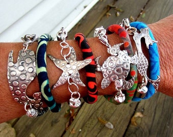 Pewter and fabric cord bangles